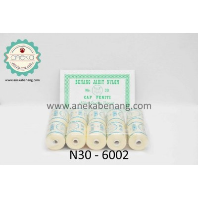 Benang Nylon Cap Peniti No. 30 / Nylon Yarn - 6002 (Putih Natural)