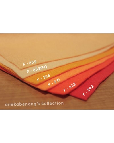 Kain Felt / Flanel - Orange (50 Cm X 90 Cm)
