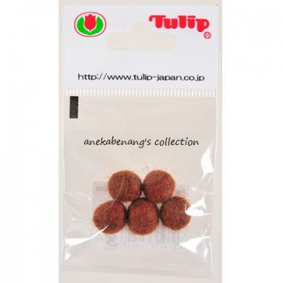 Tulip - Handmade Felt Balls 10 mm, 5 pcs. Brown