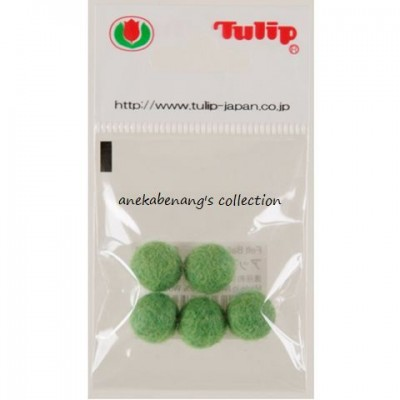 Tulip - Handmade Felt Balls 10 mm, 5 pcs. Apple Green