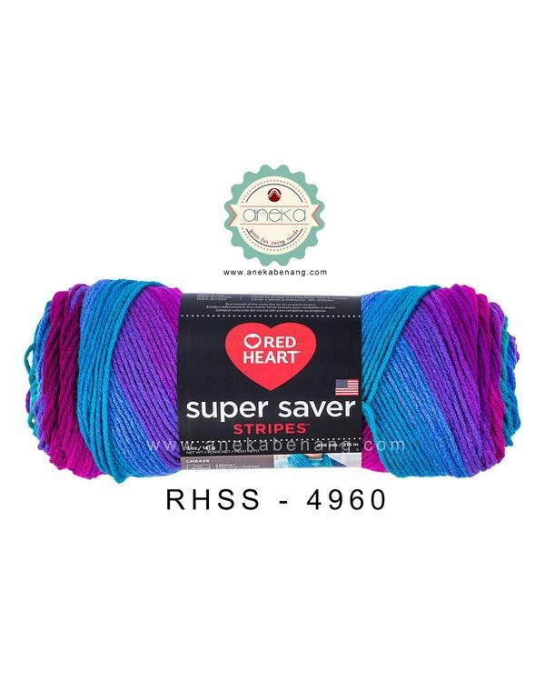 Red Heart Super Saver Stripes #4960 (Polo Stripes)