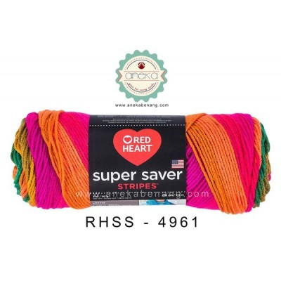 Red Heart Super Saver Stripes #4961 (Preppy Stripes)