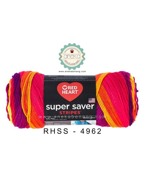 Red Heart Super Saver Stripes #4962 (FruityStripes)