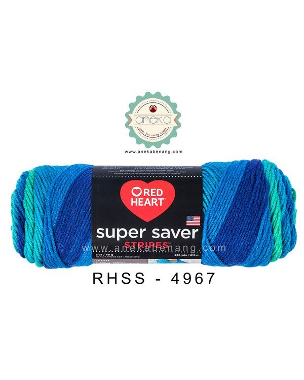 Red Heart Super Saver Stripes #4967 (Cool Stripes)
