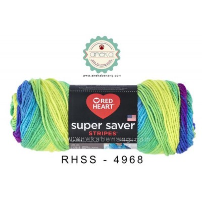 Red Heart Super Saver Stripes #4968 (Parrot Stripes)