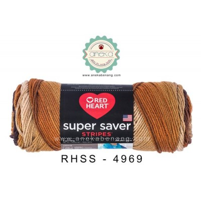 Red Heart Super Saver Stripes #4969 (Latte Stripes)