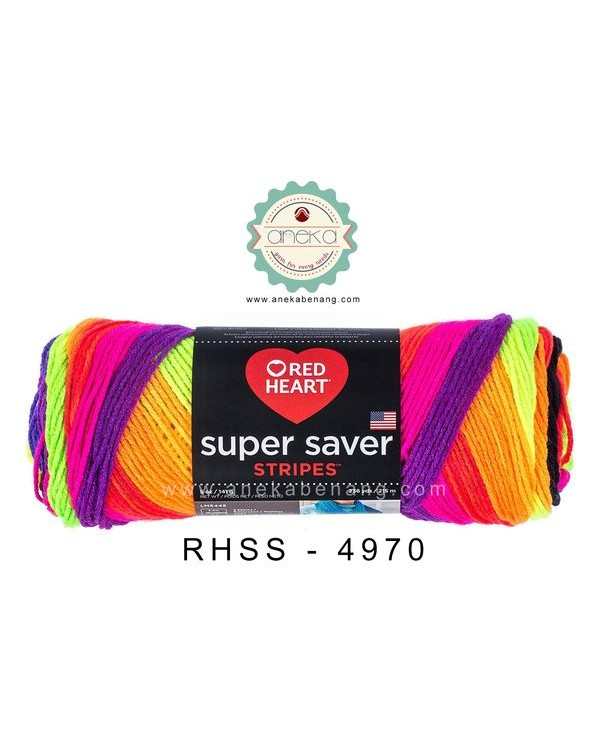 Red Heart Super Saver Stripes #4970 (Bright Stripes)