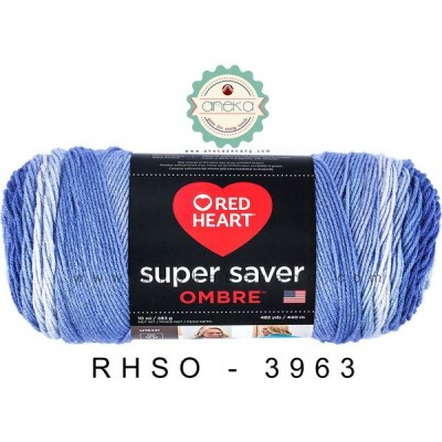 Red Heart Super Saver Ombre #3963 (Baja Blue)