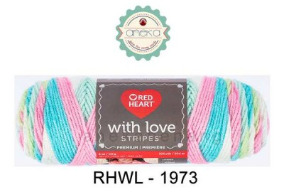 Red Heart With Love Stripes #1973 (Candy Stripe)