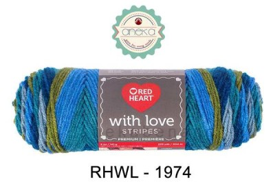 Red Heart With Love Stripes #1974 (Rainforest Stripe)
