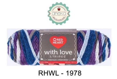 Red Heart With Love Stripes #1978 (Baroque Stripes)