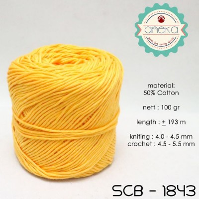 Benang Rajut Katun Bali / Soft Cotton Big Ply - 1843 (Kuning Tua)