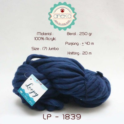 Benang Rajut Wool Jumbo / Loopy Yarn - 1839 (Navy)